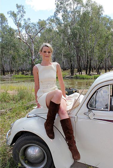 Cream dress on car 0675