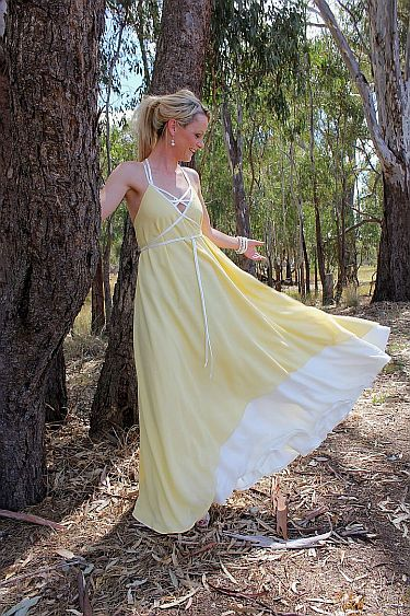 Yellow dress standing 287